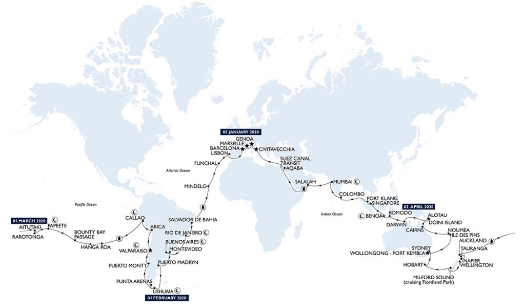 MSC Cruceros World Tour Ruta 2020