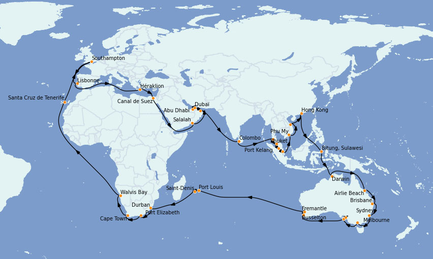 Itinerario alrededor del mundo 2023 a bordo del Queen Mary 2